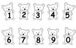Teddy Bear Numbers. An illustation featuring cute teddy bears holding cards - numbers 0 to 9 Royalty Free Stock Photo