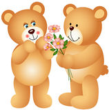 Teddy Bear Offering Flowers Stock Image