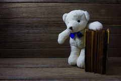 Teddy bear with old book on wood background, still life Stock Images