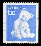 Teddy bear, Old toys serie, circa 1978. MOSCOW, RUSSIA - MAY 10, 2018: A stamp printed in Sweden shows Teddy bear, Old toys serie, circa 1978 Royalty Free Stock Images