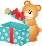 Teddy Bear Open Gift Box Royalty Free Stock Images