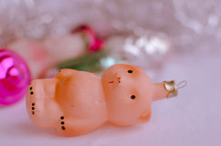 Teddy Bear - ornements de Noël de vintage image libre de droits