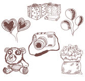 Teddy bear outline and hand drawn gift Royalty Free Stock Photo