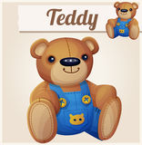 Teddy bear in overalls Stock Photos
