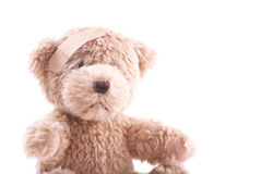 Teddy Bear with an Owie. Handmade Teddy Bear With Injury Stock Image
