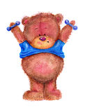 Teddy bear owith dumbbells Stock Photo