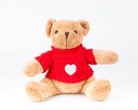 Teddy Bear på isolatbakgrund golv b för förälskelse för gullig konst för pilbåge trevligt Fotografering för Bildbyråer