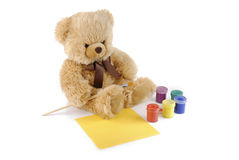 Teddy bear painting colors Royalty Free Stock Photos