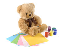Teddy bear painting colors Stock Photography