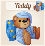 Teddy bear in pajamas with pillow. Cartoon vector illustration Stock Images
