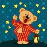 Teddy bear in pajamas yawns. Vector illustration Royalty Free Stock Image