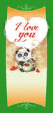 Teddy Bear Panda congratulates Happy Valentine's Day Royalty Free Stock Image