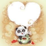 Teddy Bear Panda congratulates Happy Valentine's Day Stock Photo
