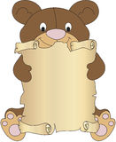 Teddy bear with parchment. Illustration with teddy bear with parchment Stock Image