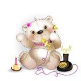 Teddy Bear parlant au téléphone Images libres de droits