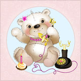 Teddy Bear parlant au téléphone Images stock