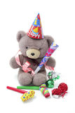 Teddy Bear with Party Favors Royalty Free Stock Photos