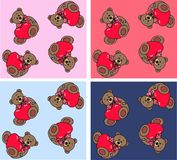 Teddy bear pattern. Seamless pattern with teddy bears with different background colours Stock Image