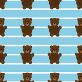 Teddy Bear Pattern bleu sans couture Photo libre de droits