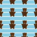 Teddy Bear Pattern blu senza cuciture Fotografia Stock Libera da Diritti