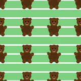 Teddy Bear Pattern verde senza cuciture Fotografia Stock
