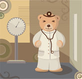 Teddy Bear Pediatrician Background. With weight scales Royalty Free Stock Photo