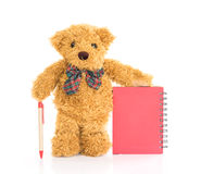 Teddy bear with pen on blank red notebook Royalty Free Stock Photos