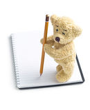 Teddy bear with pencil on blank notebook Stock Photography