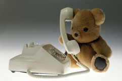 Teddy Bear on the Phone Royalty Free Stock Photography