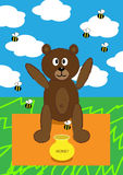 Teddy bear picnic. Teddy bear having picnic on the field, and a lot of bees surrounded his honey pot Stock Photography