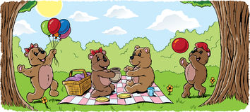 Teddy bear picnic. Teddy bear family having a picnic vector illustration