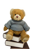 Teddy bear and pile of old books Royalty Free Stock Photography