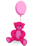 Teddy bear pink. Little pink sitting Bear with balloons Royalty Free Stock Photos