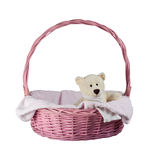 Teddy bear in a pink basket Royalty Free Stock Photos