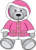 Teddy bear in pink coat. Grey Bear sitting in pink coat stock illustration