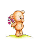 Teddy bear with pink flowers Stock Photo