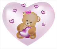 Teddy bear with pink heart Royalty Free Stock Image