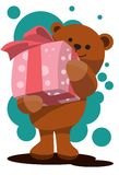 Teddy Bear And Pink Present Royalty Free Stock Photography