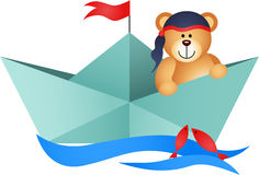 Teddy Bear Pirate in a Boat. Scalable vectorial image representing a teddy bear pirate in a boat, isolated on white Royalty Free Stock Image