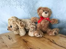 Teddy bear is placed on a wooden table. Concrete backdrop Can be used for display or montage your production. Presentation of advertising ideas stock photos