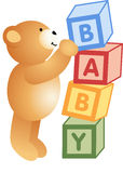 Teddy Bear Playing with Alphabet Blocks Royalty Free Stock Photography