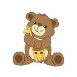 Teddy bear playing with his toy, a giraffe Stock Photo