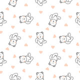 Teddy bear plush seamless vector pattern. Royalty Free Stock Photo