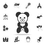 Teddy bear plush toy icon. Detailed set of baby toys icons. Premium quality graphic design. One of the collection icons for websit. Es, web design, mobile app on Stock Photo
