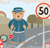 Teddy Bear Policeman Background. With speed sign and road Stock Photo