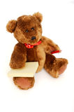 Teddy bear with post it notes and pencil Stock Photo