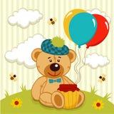 Teddy bear  with a pot of honey Stock Photos