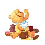 Teddy bear. With a pot of honey vector illustration