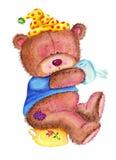 Teddy bear on pot Stock Photos