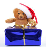 Teddy bear and present Royalty Free Stock Image